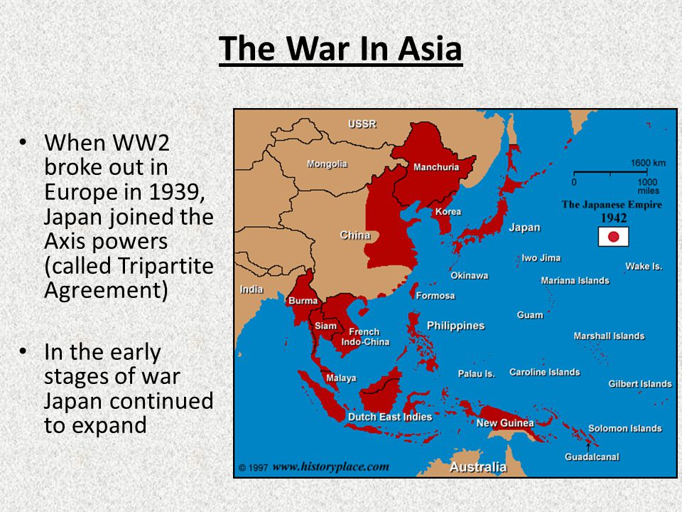 The War In Asia When WW2 broke out in Europe in 1939, Japan joined the Axis powers (called Tripartite Agreement)