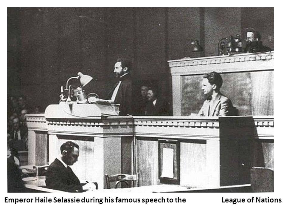 Emperor Haile Selassie during his famous speech to the League of Nations