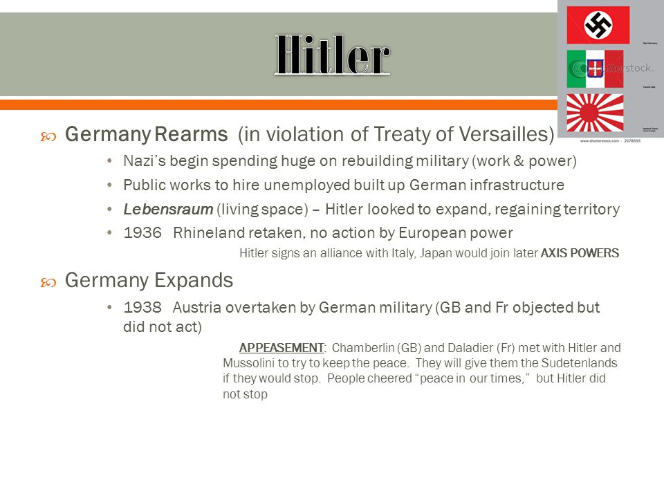 Hitler Germany Rearms (in violation of Treaty of Versailles)