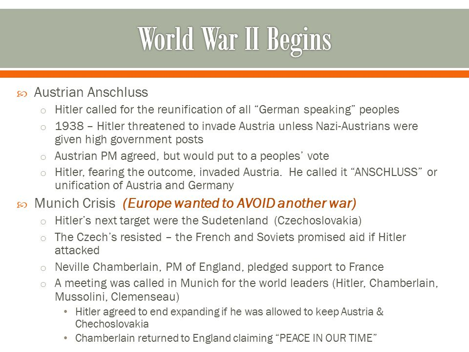 World War II Begins Austrian Anschluss