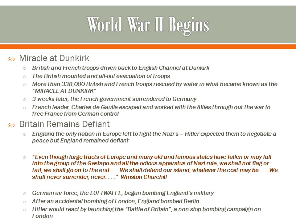 World War II Begins Miracle at Dunkirk Britain Remains Defiant