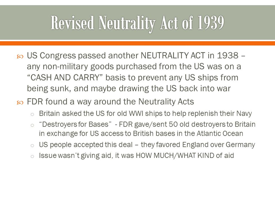 Revised Neutrality Act of 1939
