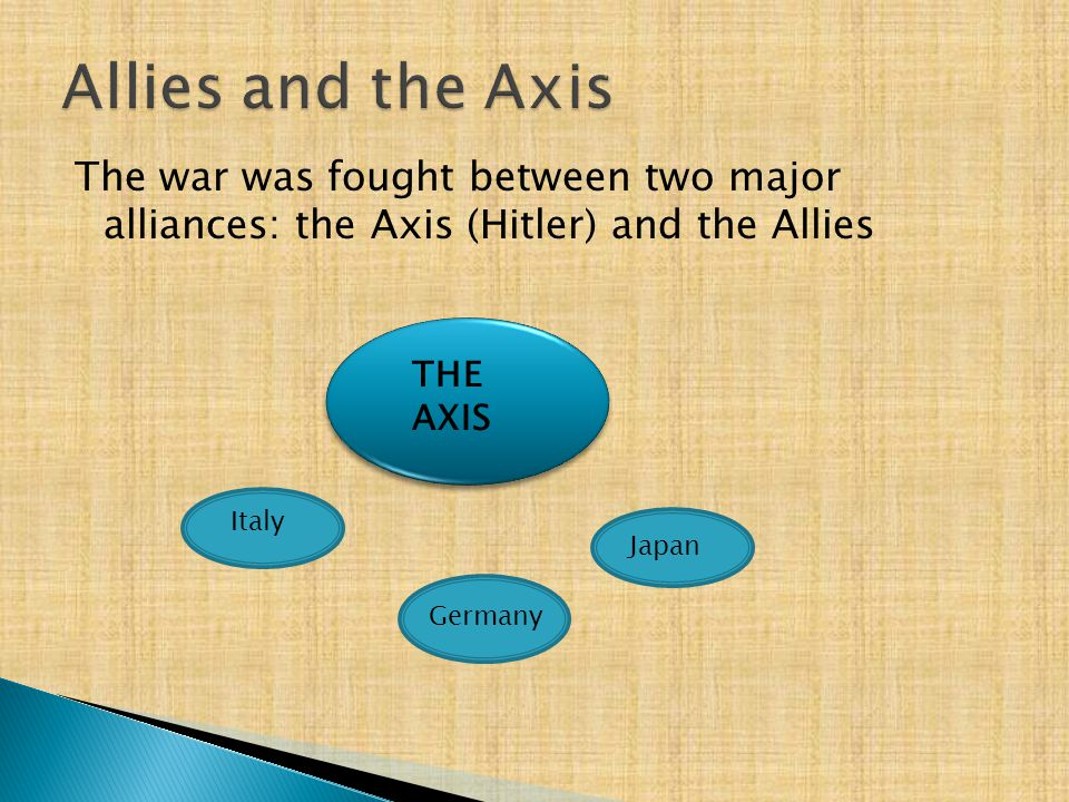Allies and the Axis The war was fought between two major alliances: the Axis (Hitler) and the Allies.