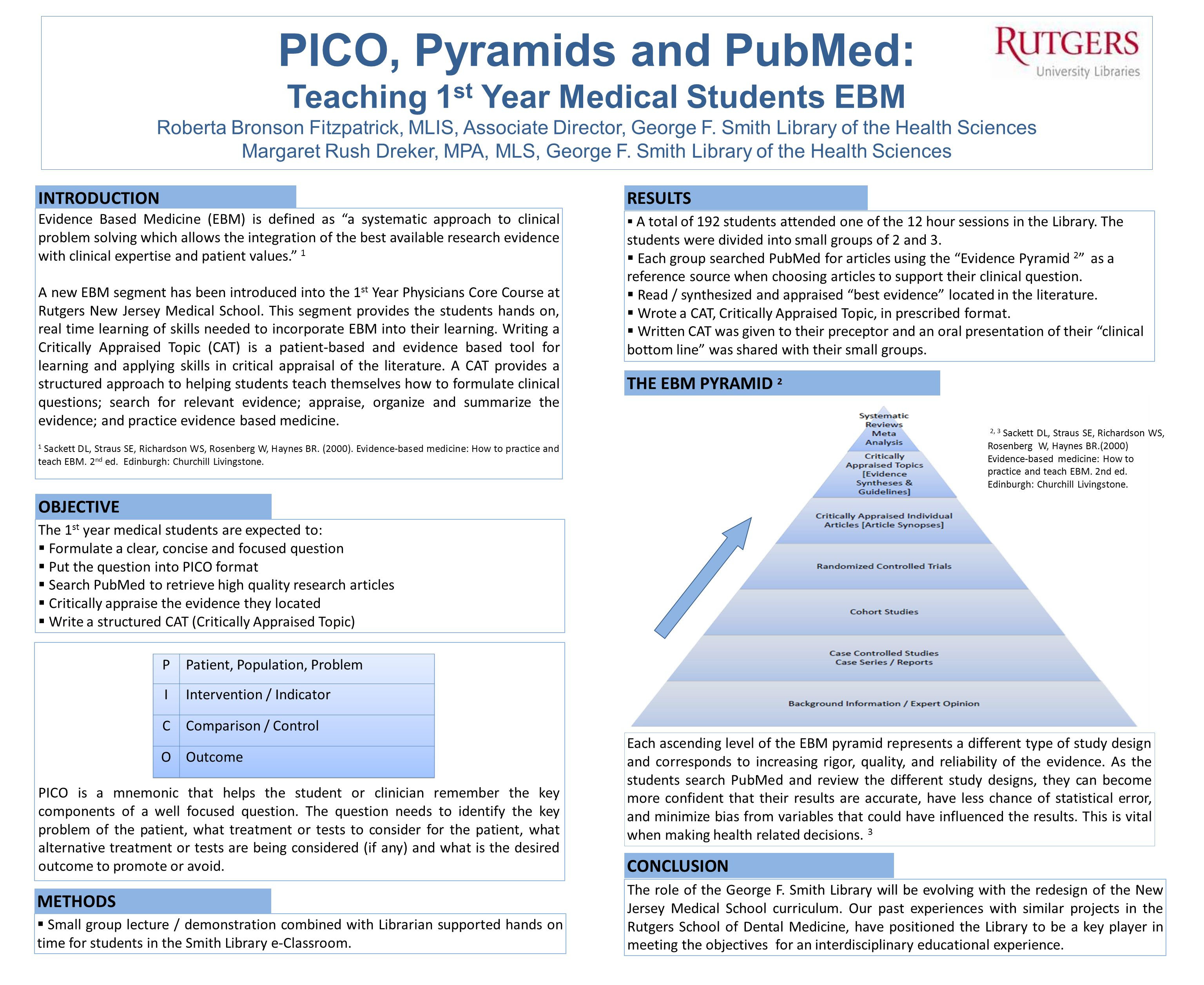 PICO, Pyramids and PubMed: Teaching 1st Year Medical Students EBM