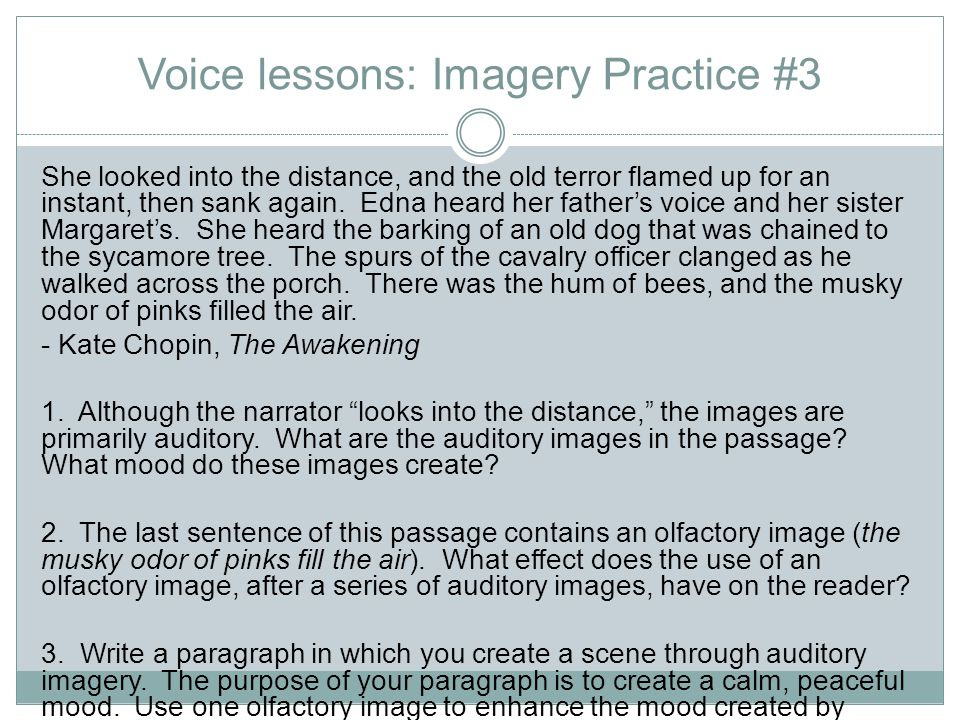 Voice lessons: Imagery Practice #3
