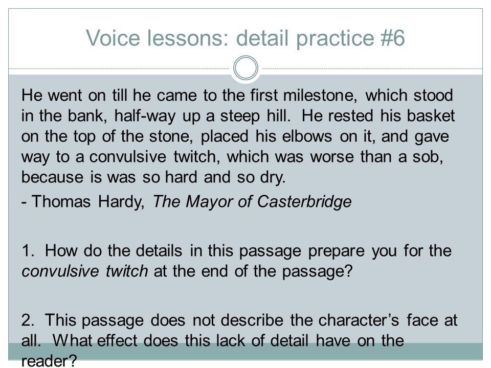 Voice lessons: detail practice #6