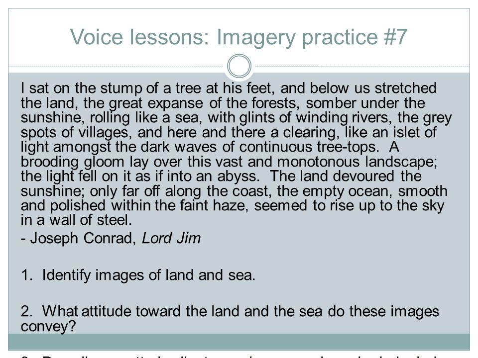 Voice lessons: Imagery practice #7