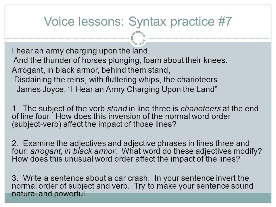 Voice lessons: Syntax practice #7