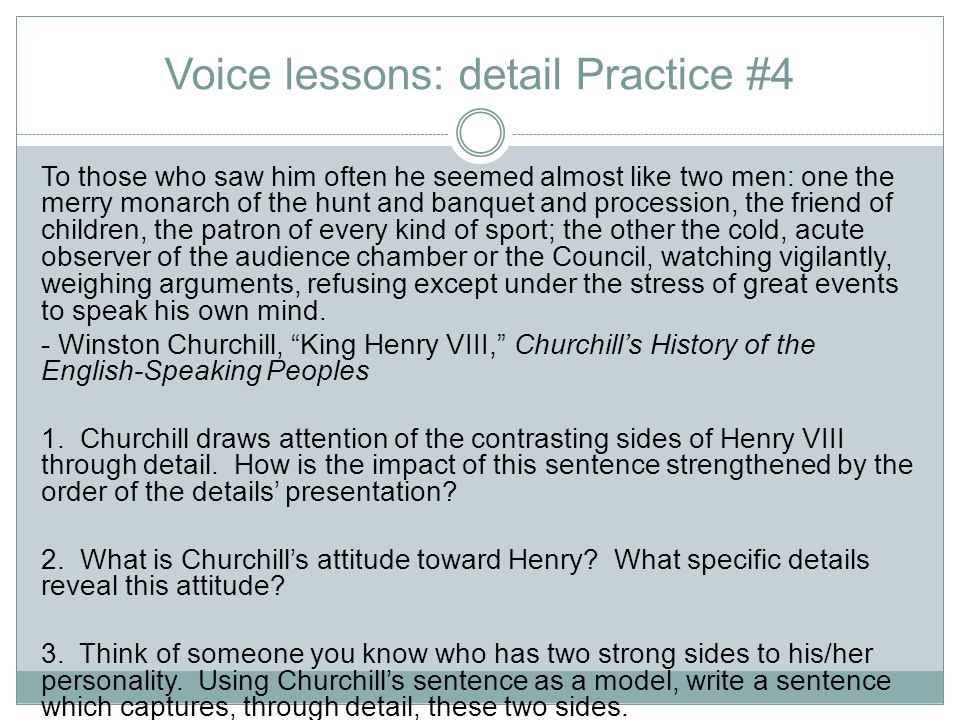Voice lessons: detail Practice #4
