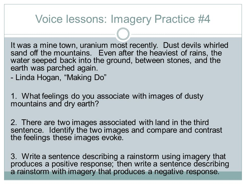 Voice lessons: Imagery Practice #4