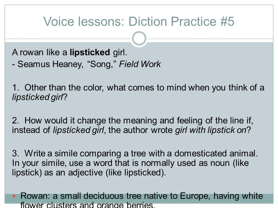 Voice lessons: Diction Practice #5