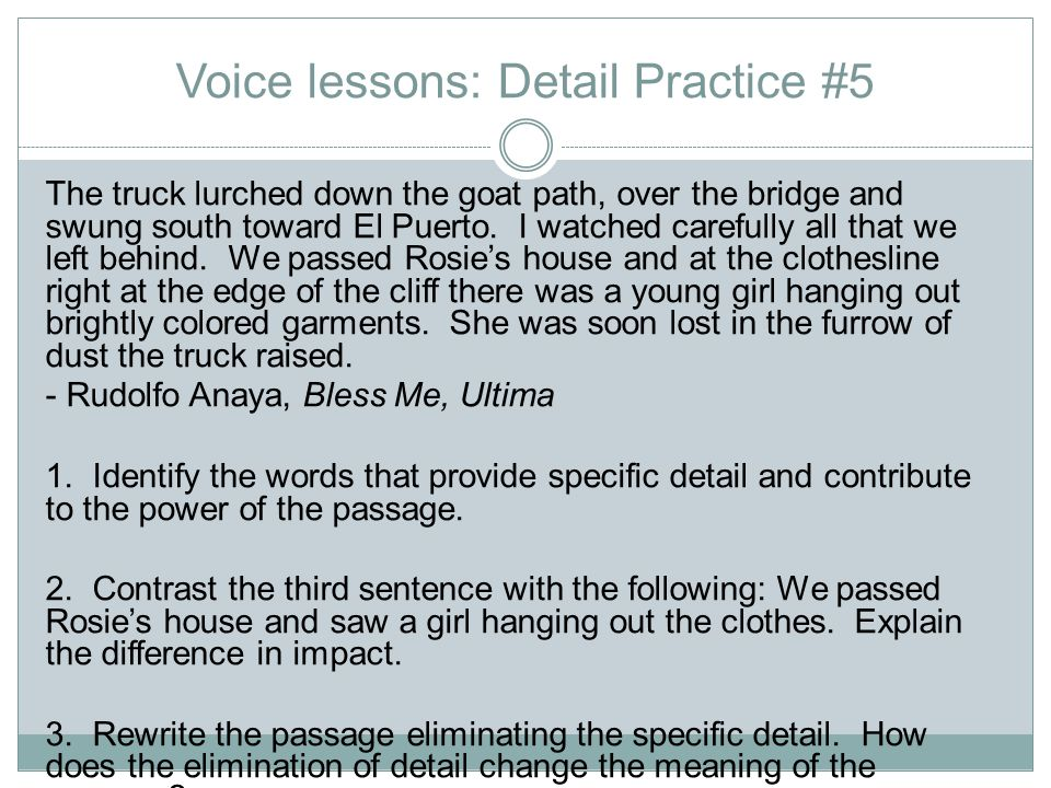 Voice lessons: Detail Practice #5