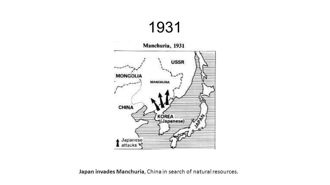 1931 Japan invades Manchuria, China in search of natural resources.