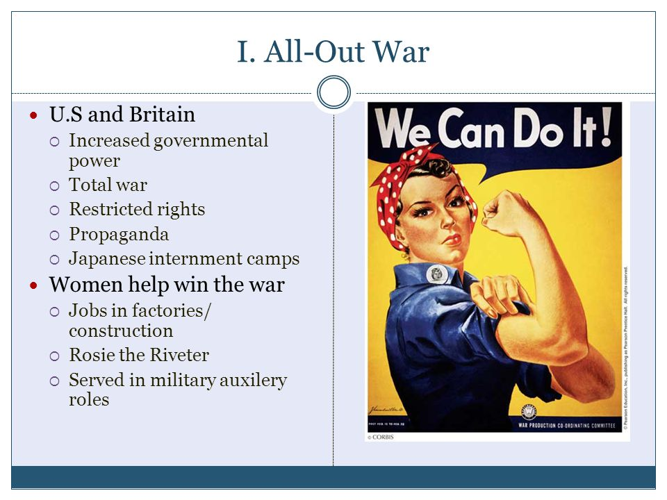 I. All-Out War U.S and Britain Women help win the war