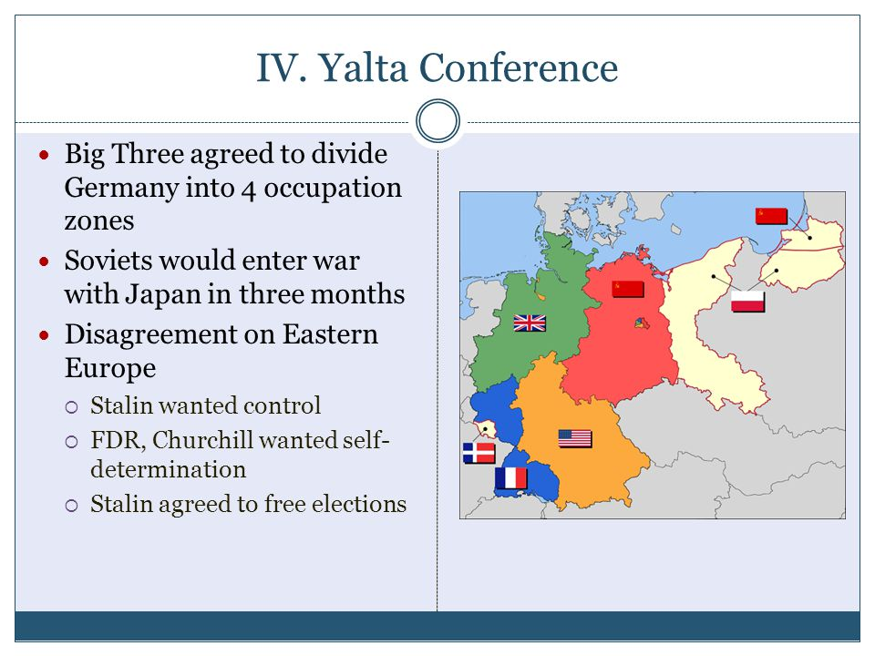 IV. Yalta Conference Big Three agreed to divide Germany into 4 occupation zones. Soviets would enter war with Japan in three months.