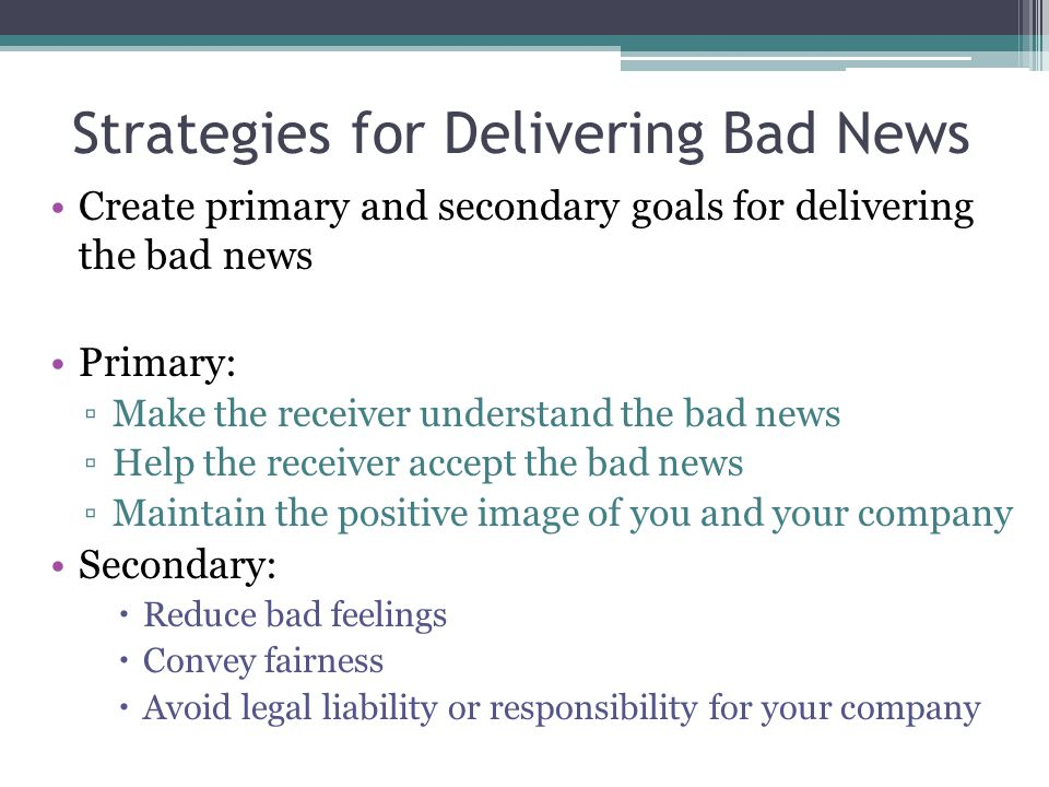 Strategies for Delivering Bad News
