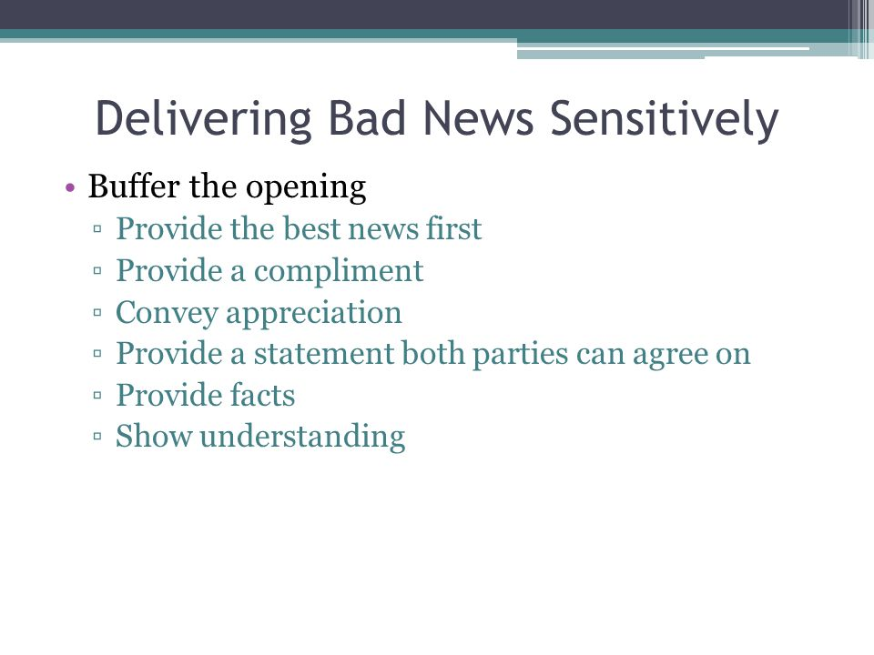Delivering Bad News Sensitively