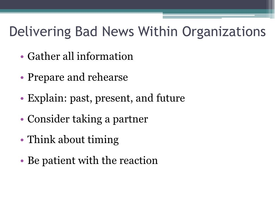 Delivering Bad News Within Organizations