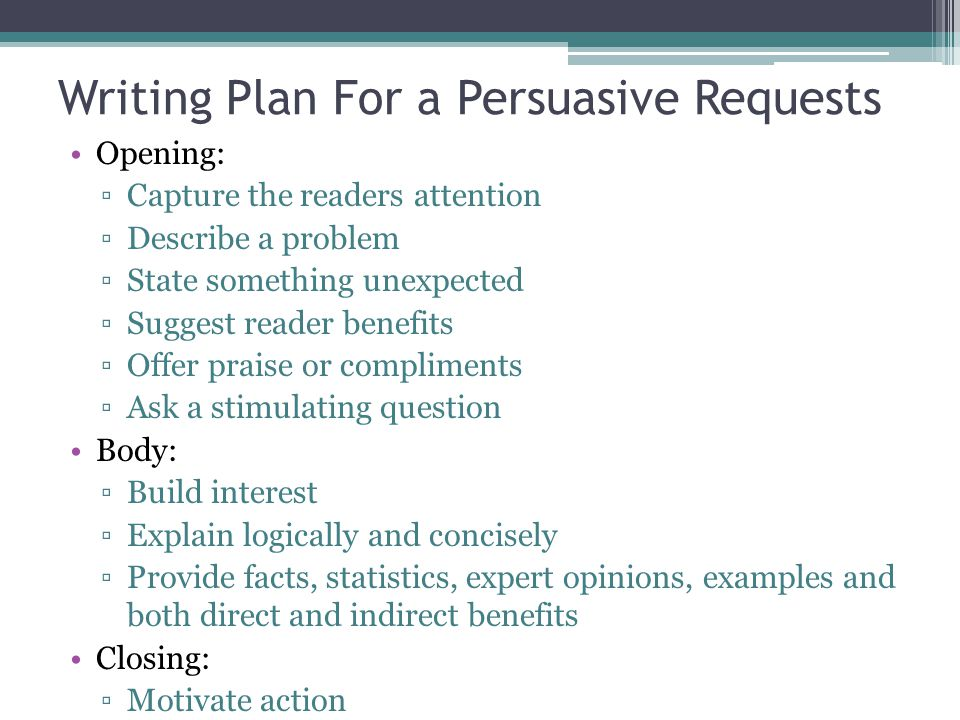 Writing Plan For a Persuasive Requests