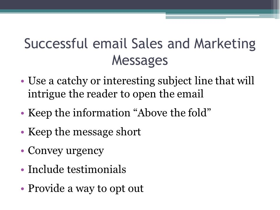 Successful email Sales and Marketing Messages