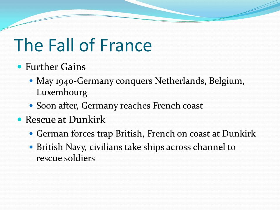 The Fall of France Further Gains Rescue at Dunkirk