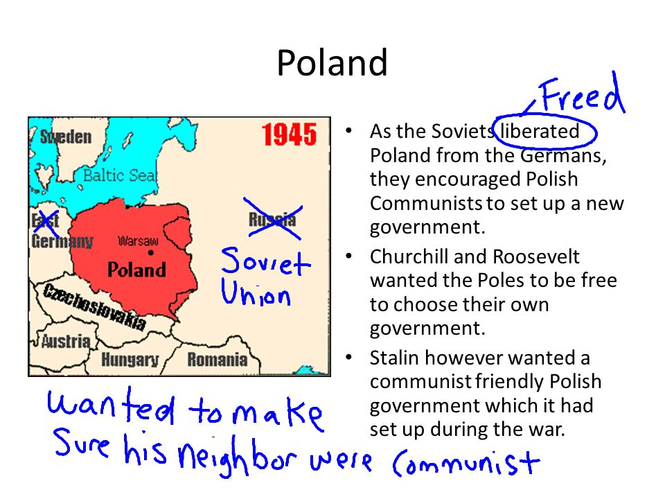 Poland As the Soviets liberated Poland from the Germans, they encouraged Polish Communists to set up a new government.