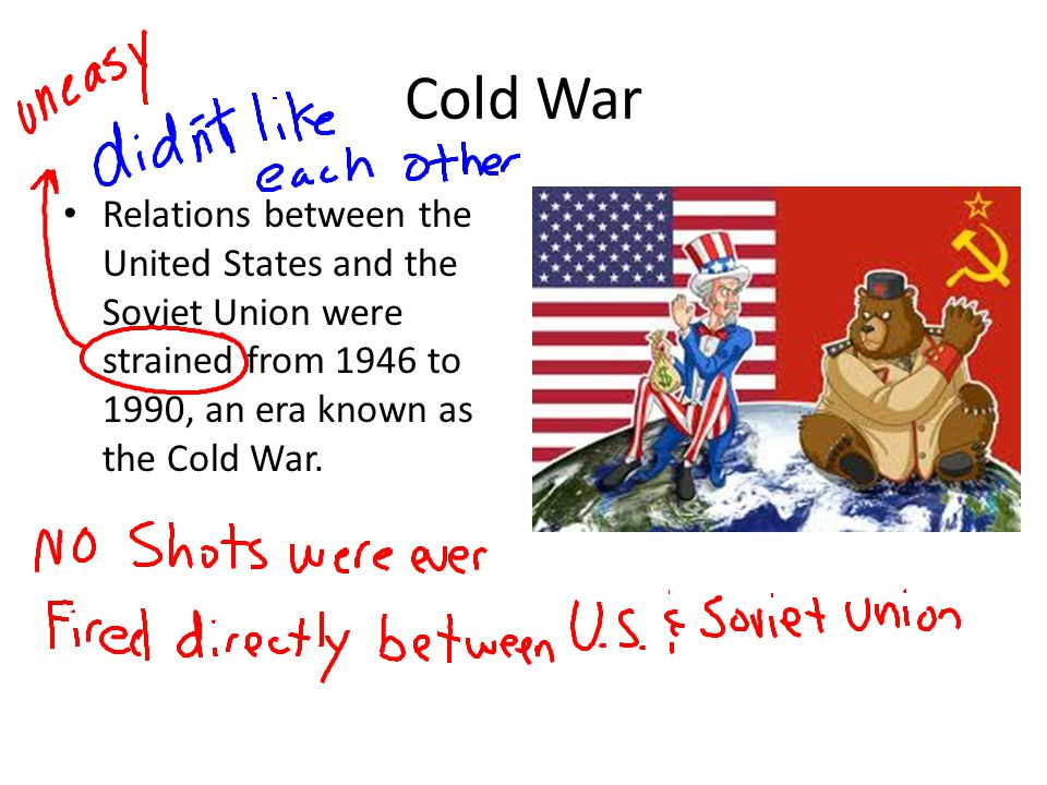 Cold War Relations between the United States and the Soviet Union were strained from 1946 to 1990, an era known as the Cold War.