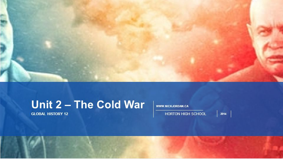 Unit 2 – The Cold War GLOBAL HISTORY 12 HORTON HIGH SCHOOL