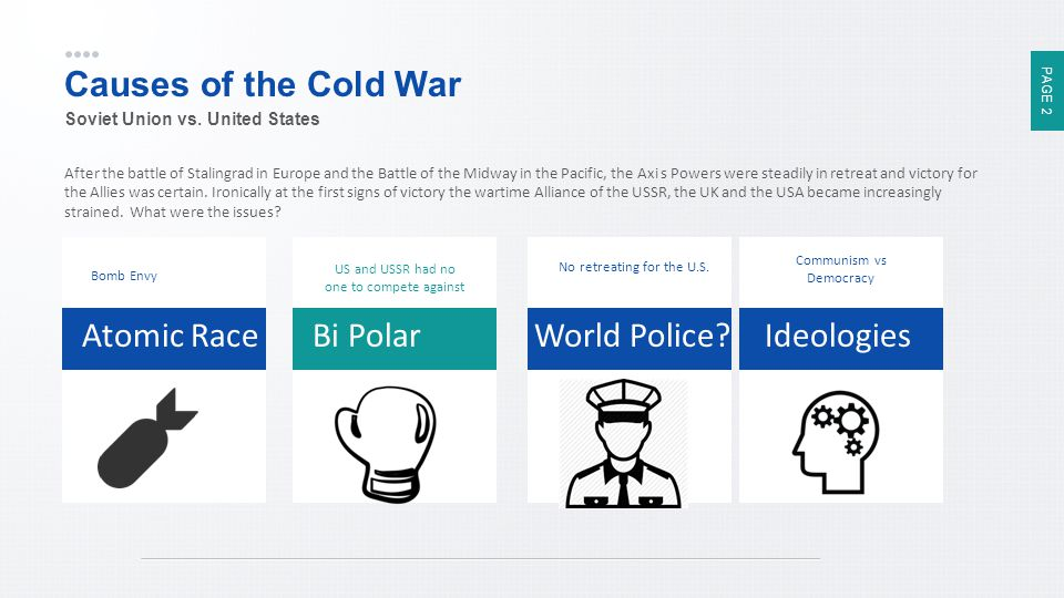 Causes of the Cold War Atomic Race Bi Polar World Police Ideologies