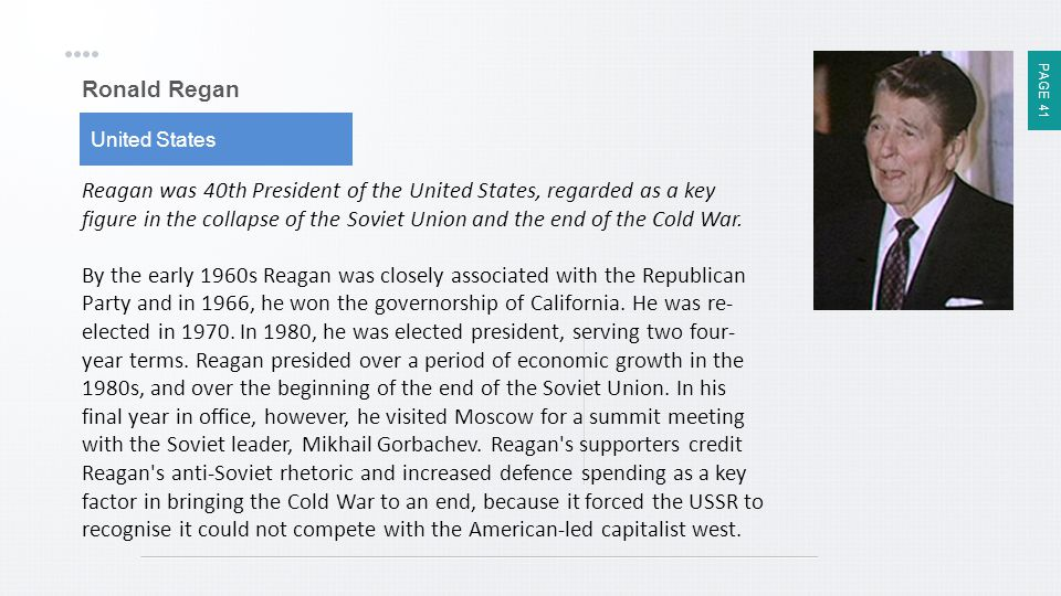Ronald Regan United States.