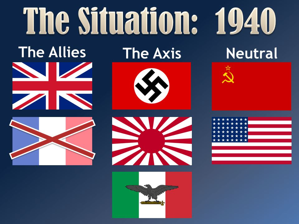 The Situation: 1940 The Allies The Axis Neutral