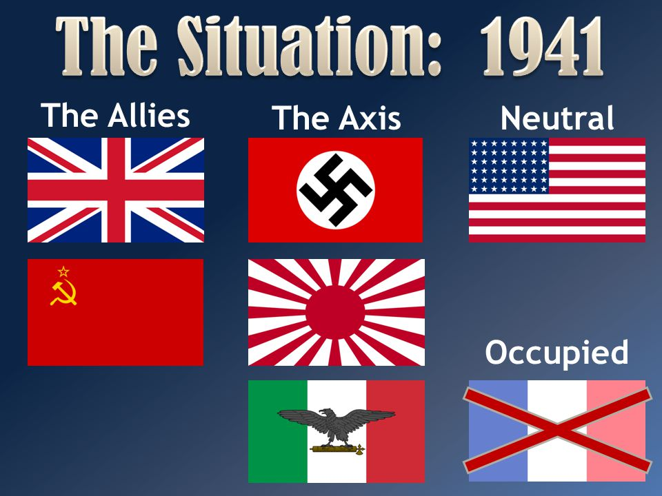The Situation: 1941 The Allies The Axis Neutral Occupied