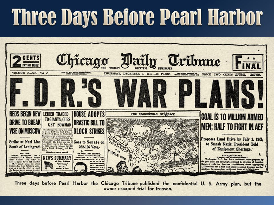 Three Days Before Pearl Harbor