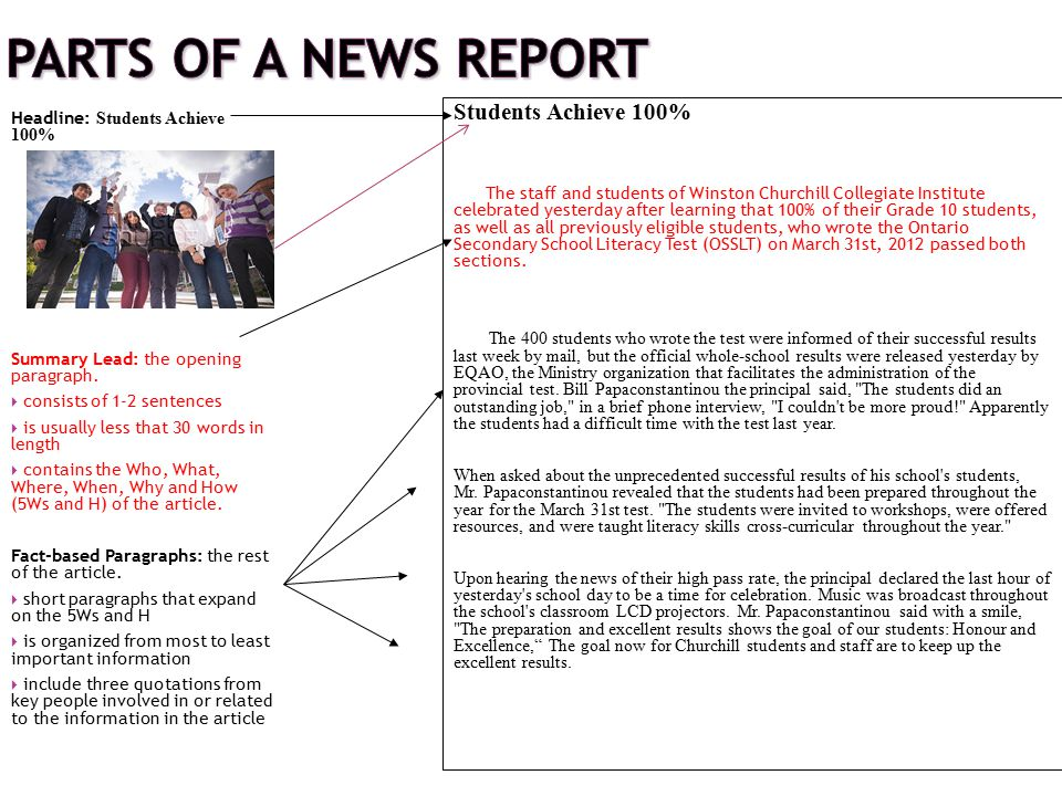 Parts of a News Report Students Achieve 100%