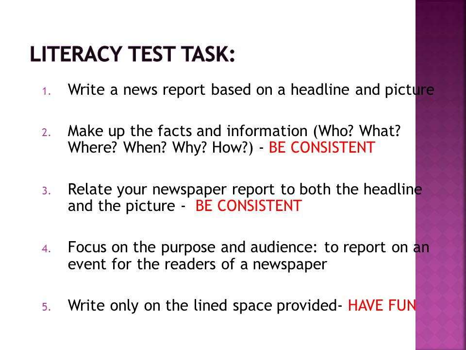 Literacy Test Task: Write a news report based on a headline and picture.