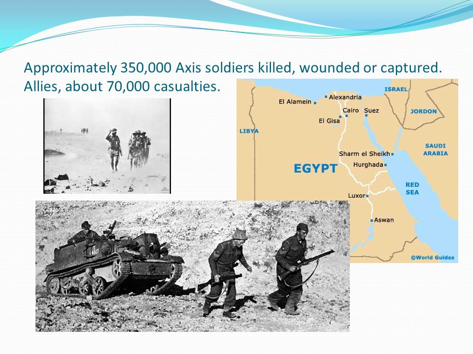 Approximately 350,000 Axis soldiers killed, wounded or captured