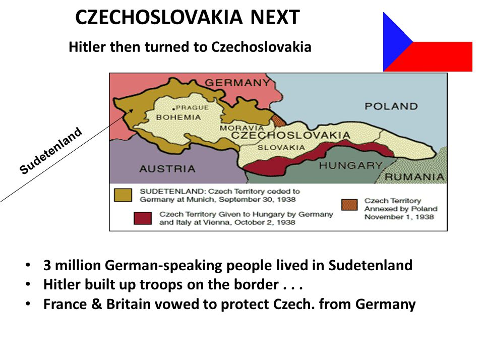CZECHOSLOVAKIA NEXT Hitler then turned to Czechoslovakia