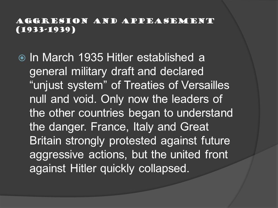Aggresion and Appeasement (1933-1939)