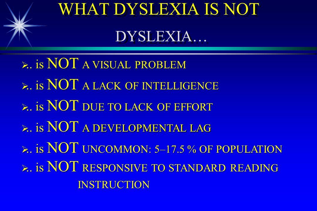 WHAT DYSLEXIA IS NOT DYSLEXIA…