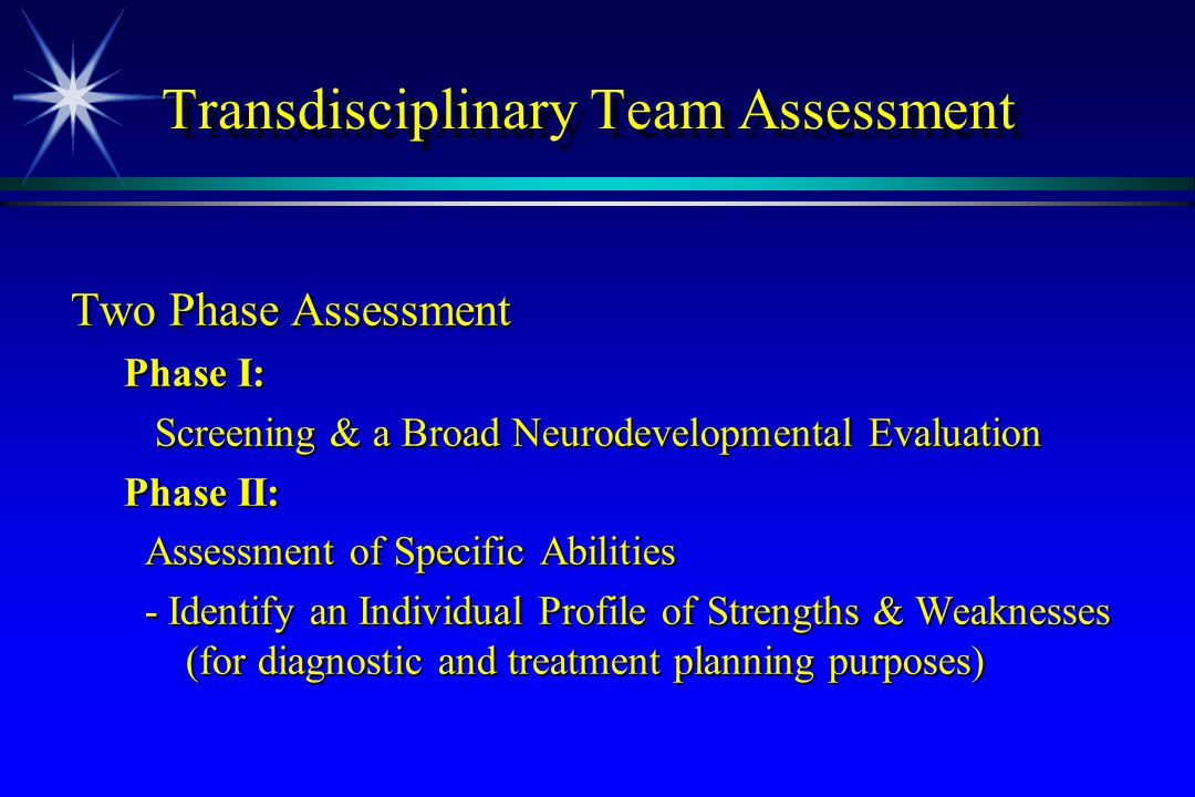 Transdisciplinary Team Assessment