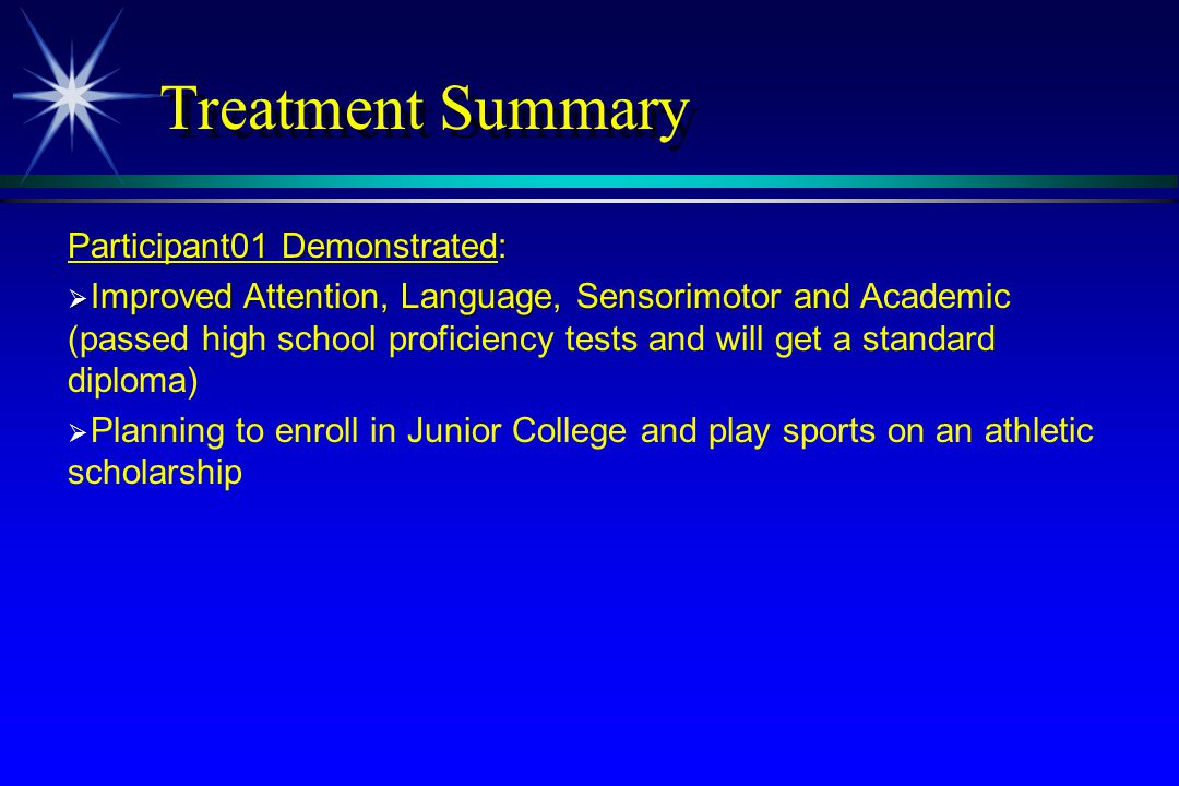 Treatment Summary Participant01 Demonstrated: