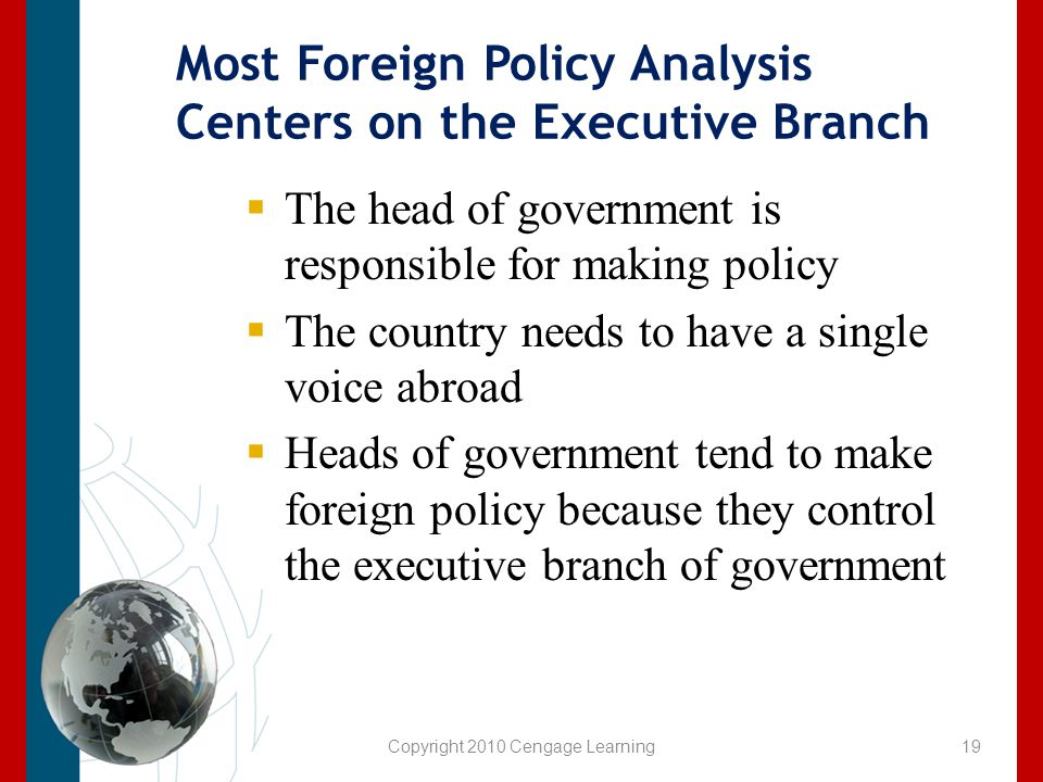 Most Foreign Policy Analysis Centers on the Executive Branch