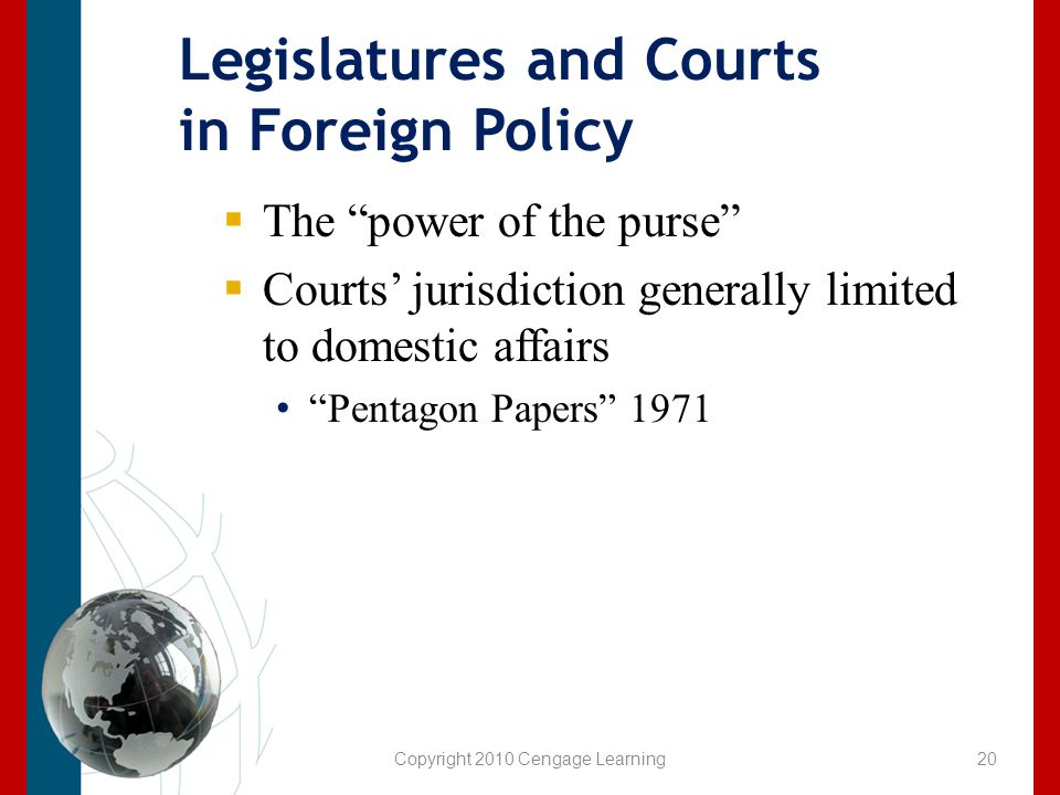 Legislatures and Courts in Foreign Policy