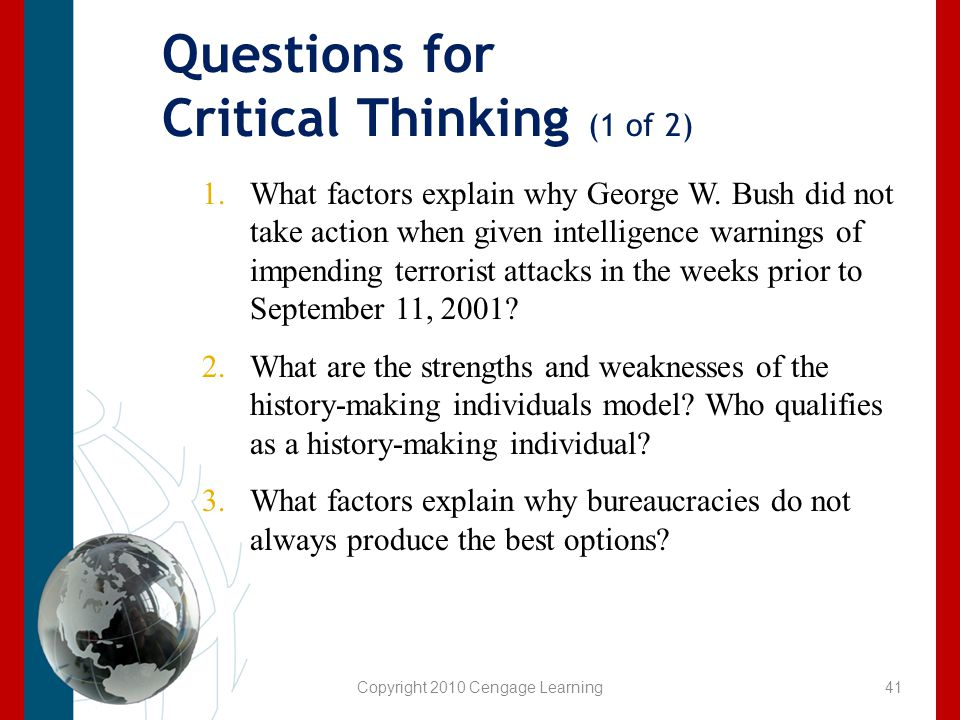 Questions for Critical Thinking (1 of 2)
