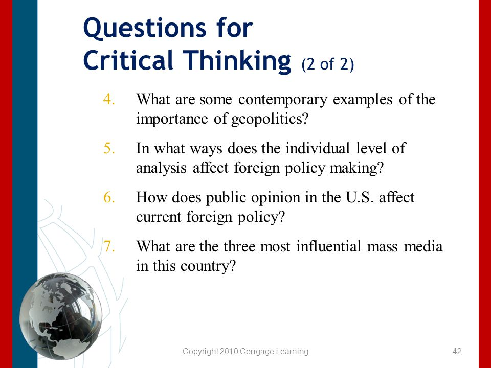 Questions for Critical Thinking (2 of 2)