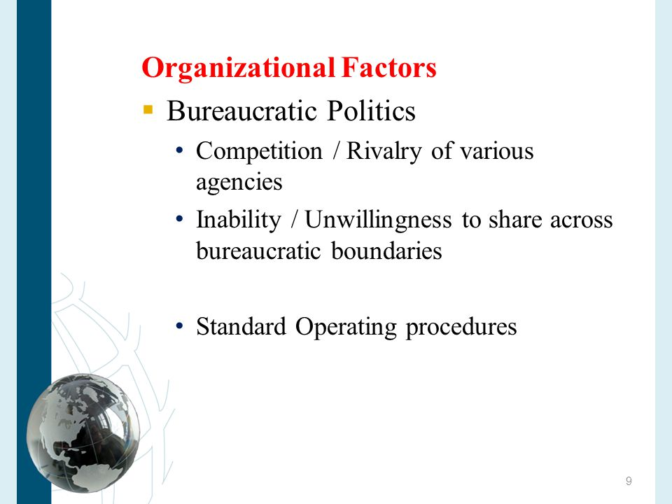 Organizational Factors Bureaucratic Politics