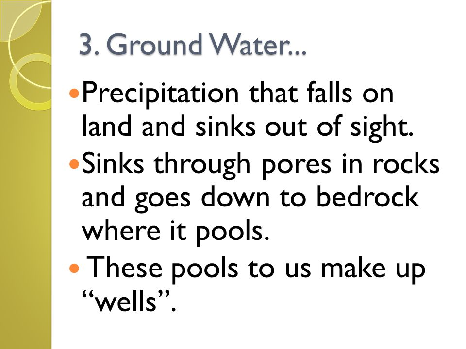 3. Ground Water... Precipitation that falls on land and sinks out of sight. Sinks through pores in rocks and goes down to bedrock where it pools.