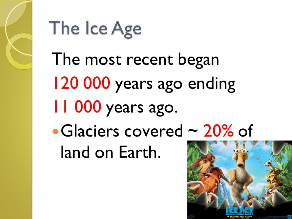 The Ice Age The most recent began 120 000 years ago ending