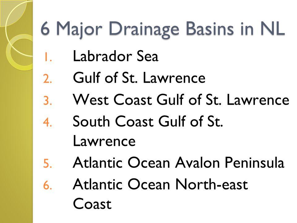 6 Major Drainage Basins in NL