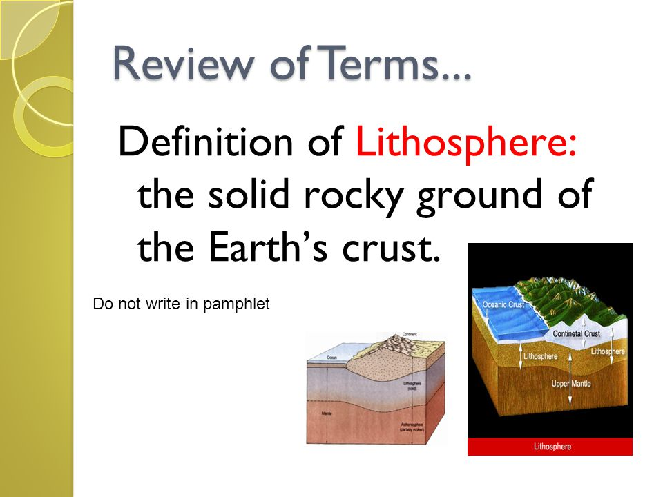 Review of Terms... Definition of Lithosphere: the solid rocky ground of the Earth's crust.